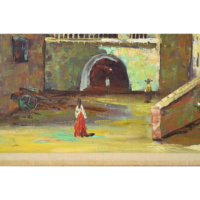 Impressionism Vintage Spanish Village Street Scene Oil Painting Figures Walking in Plaza For Sale - Image 3 of 6