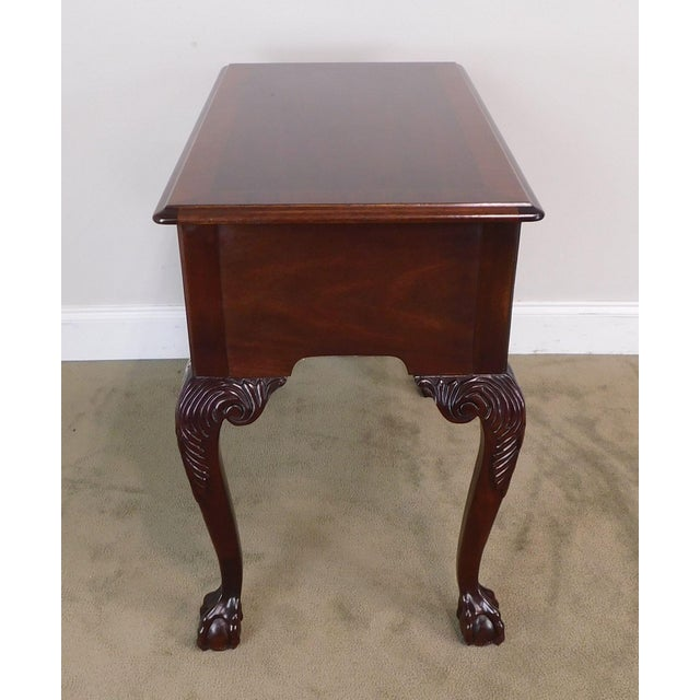 1990s Councill Craftsman Chippendale Style Banded Mahogany Claw Foot Side or Console Table For Sale - Image 5 of 13