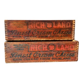 Vintage Richland Finest Cream Cheese Boxes - A Pair
