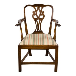Mid 19th Century Vintage Chippendale Style Splat Back Upholstered Side Chair For Sale