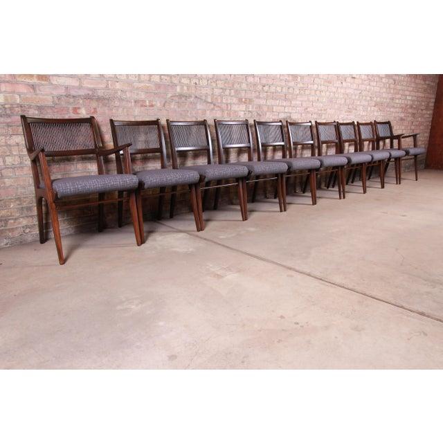 Drexel John Van Koert Mid-Century Modern Restored Walnut Dining Chairs, Set of Ten For Sale - Image 4 of 13