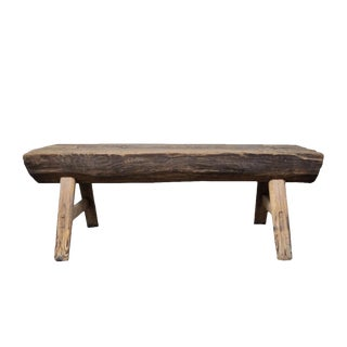 Vintage Rustic Bench Made From Reclaimed Barnwood For Sale