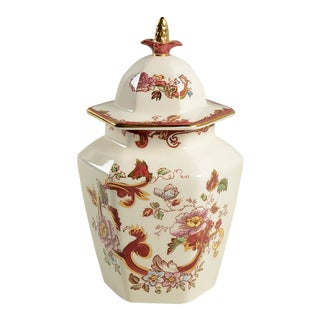 Mason's Mandalay Red Hexagonal Jar With Lid For Sale