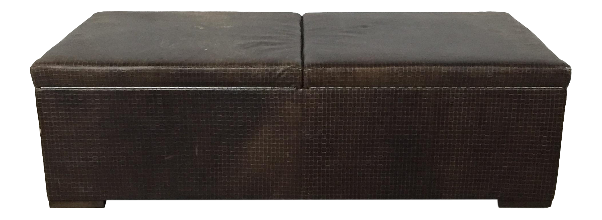 Woven Leather Storage Ottoman By Edelman