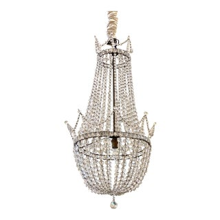 Antique Early 20th Century Beaded Basket Shaped Crystal Chandelier For Sale
