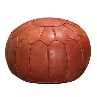 Modern Retro Moroccan Brown Leather Pouf Ottoman For Sale