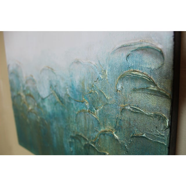Modern Textured Original Abstract Painting - Green Teal Turquoise Gold Metallic Square Canvas Wall Art - Image 3 of 3