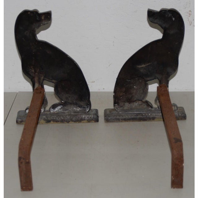 """Late 19th Century 19th Century Cast Iron """"Shorthaired Pointer"""" Andirons C.1880s - a Pair For Sale - Image 5 of 9"""