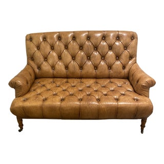 1990s Ralph Lauren Leather Tufted Loveseat For Sale