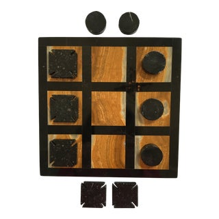 Vintage Marble & Onyx Stone Tic Tac Toe Board Game With 10 Playing Pieces For Sale