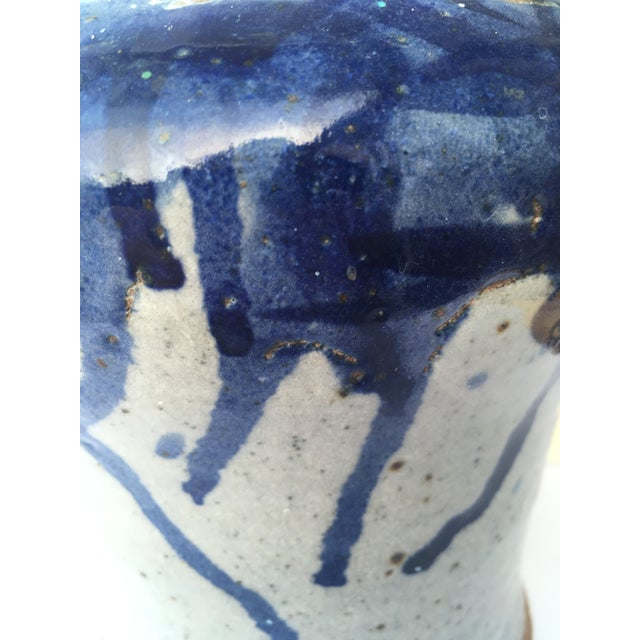 Wonderful pottery Chinese Brush Jar, exquisite light blue with royal blue splatter pattern glaze at rim. Etched initials...