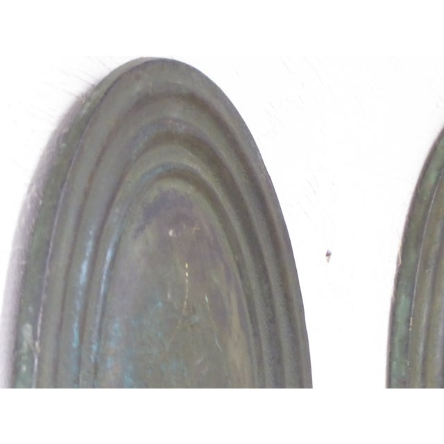 Vintage Classical Verdegris Bronze Oval Sconces for Candles - a Pair For Sale - Image 4 of 5