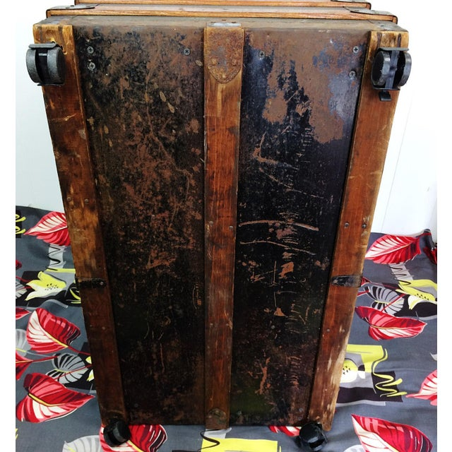 Antique Wood Steamer Trunk with Key - Image 10 of 10