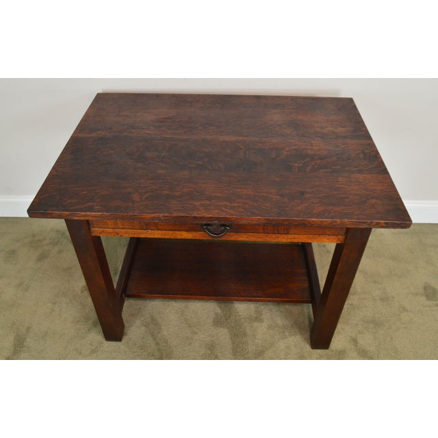 Metal Mission Oak Antique One Drawer Table Writing Desk Possibly Stickley For Sale - Image 7 of 13