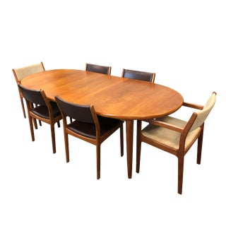 1950s Vintage Danish Modern Dining Set- 7 Pieces For Sale