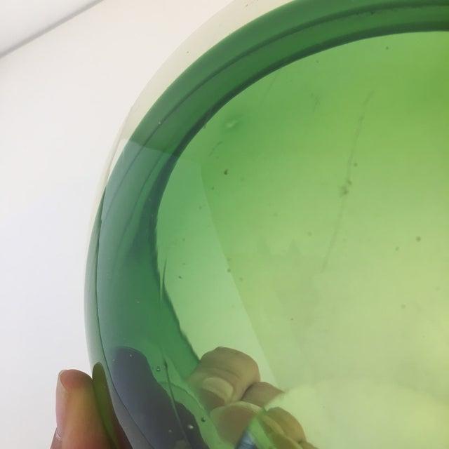 Glass Contemporary Flavio Poli Green Murano Glass Dish For Sale - Image 7 of 8