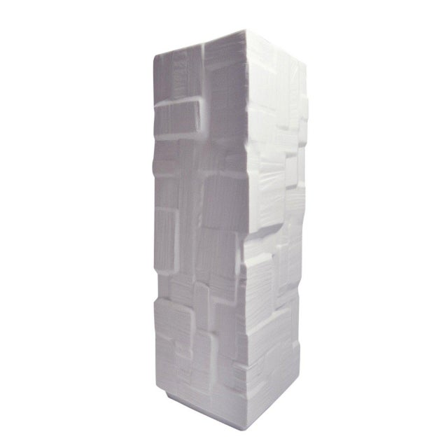 Heinrich Square White Bisque Vase with Geometric Block Design For Sale In San Francisco - Image 6 of 6