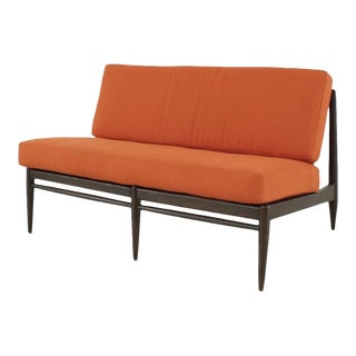 Vintage Orange Tweed Armless Low Profile Loveseat For Sale