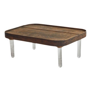Wooden Tray Top Coffee Table on Glass Legs For Sale