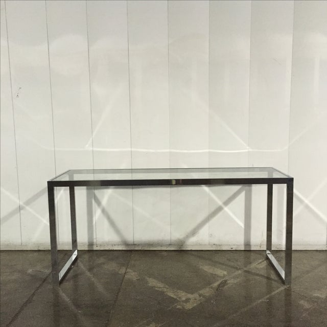 Milo Baughman Chrome Console Table - Image 2 of 7