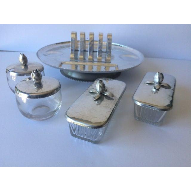Vintage Lazy Susan Rodney Kent Hammered Aluminum Breakfast Set - Set of 6 - Image 5 of 9