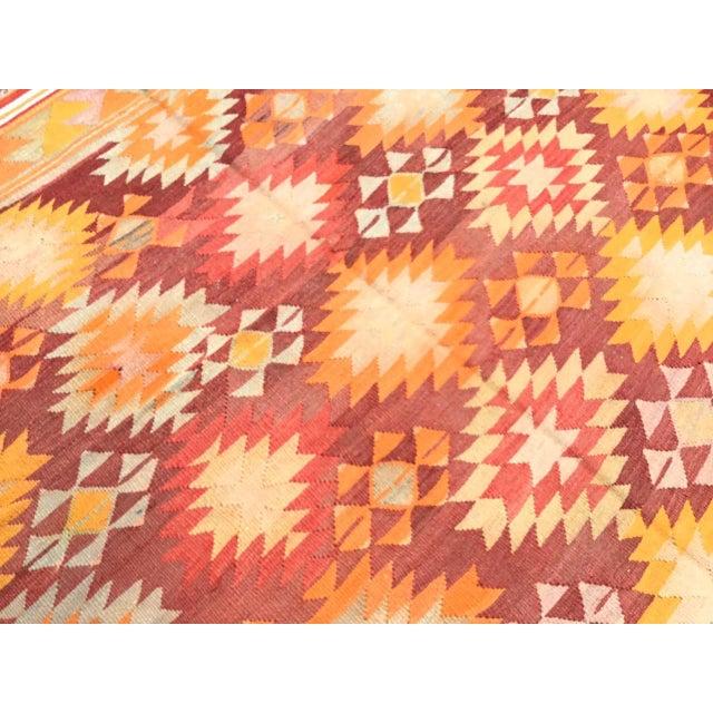 Red Burnt Orange Vintage Turkish Kilim Rug For Sale - Image 8 of 11