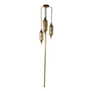 Vintage Mid-Century Turkish or Moorish Brass 3-Pendant Pole Lamp For Sale
