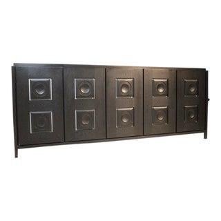 Black Ebonized Brutalist Graphic Sideboard For Sale