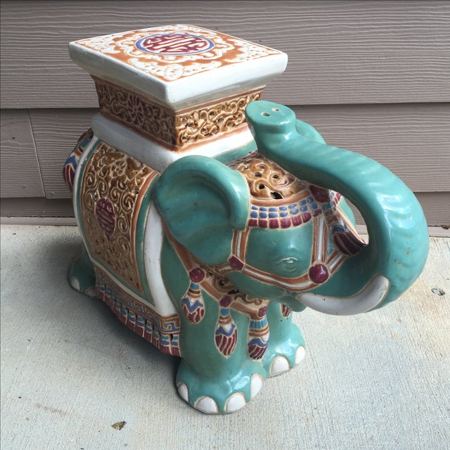 Gorgeous Chinoiserie ceramic elephant. Use it as a garden stool, side table or plant stand!
