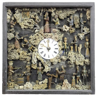 Antique Black Forest Folksy Wall Clock With Moving Figurines For Sale