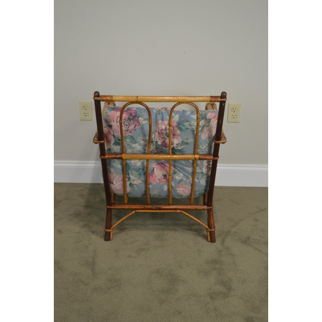 Ward Wicker Vintage Antique Pair of Split Reed Rattan Lounge Chairs For Sale - Image 9 of 13