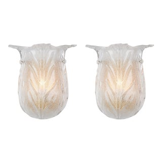 Murano Glass Tulip Shaped Sconces For Sale