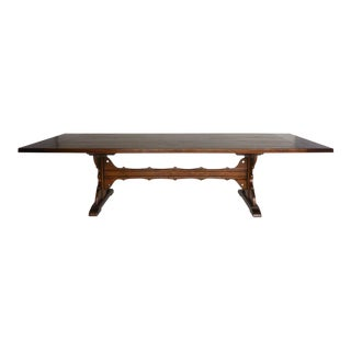 Custom Walnut Wood Table With Decorative Base and Stretcher For Sale