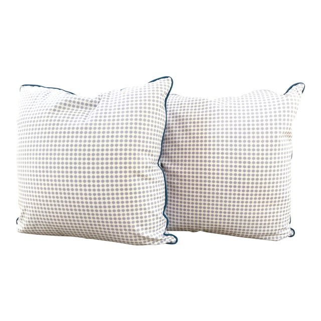"""Country Custom Down-Filled Schumacher Pillows in """"Stella"""" - a Pair For Sale"""