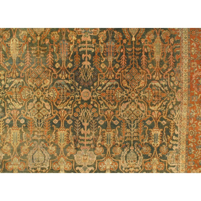 """Islamic Late 19th Century Antique Original Persian Sultanabad Hand-Knotted Rug - 10′7″ × 16′6"""" For Sale - Image 3 of 5"""