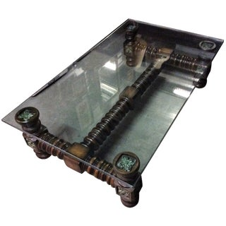 Vintage Dark Wood Spindle Leg Glass Coffee Table For Sale