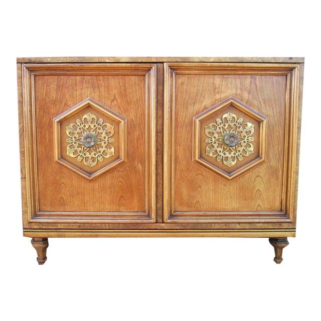 Ornate Burled Wood Hollywood Regency Dresser Cabinet By Peppler For Sale