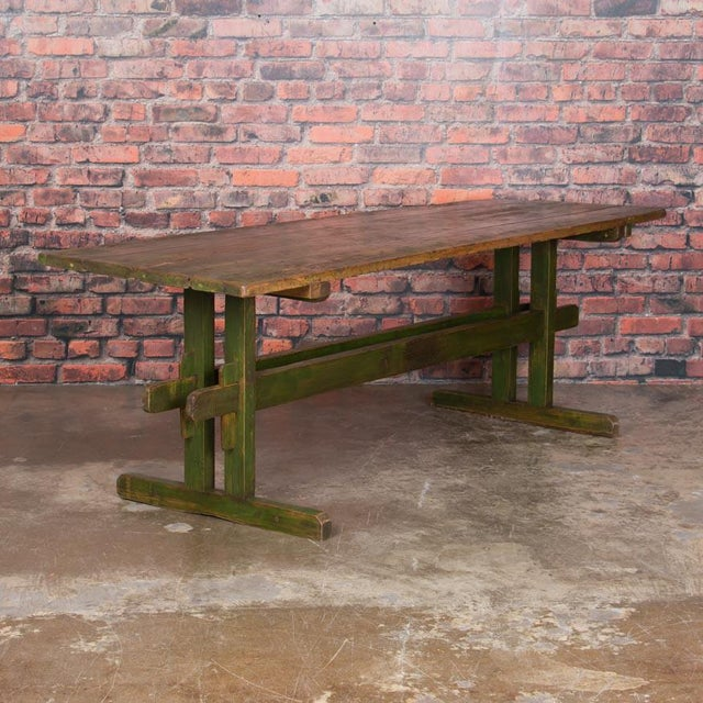 19th Century Rustic Green Painted Harvest/Farm Trestle Table For Sale - Image 9 of 9