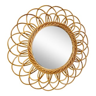 Vintage French Rattan Mirror For Sale