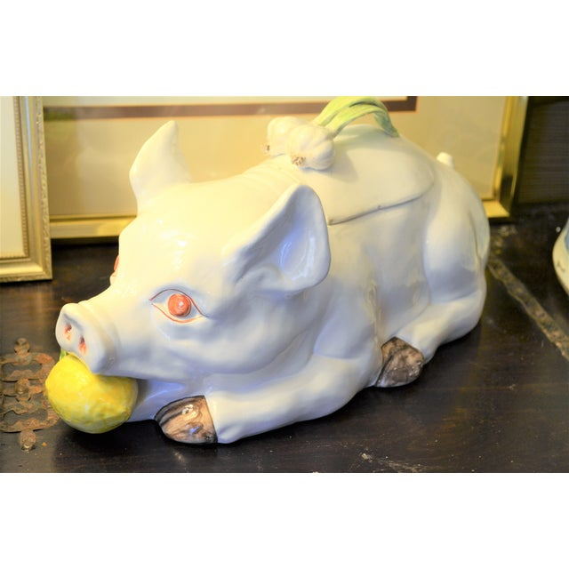 Large Majolica Pig Tureeen - Image 2 of 11