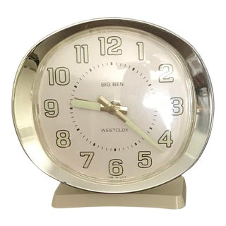 Original Mid Century Modern Cream & Gold Color Vintage Alarm Clock For Sale