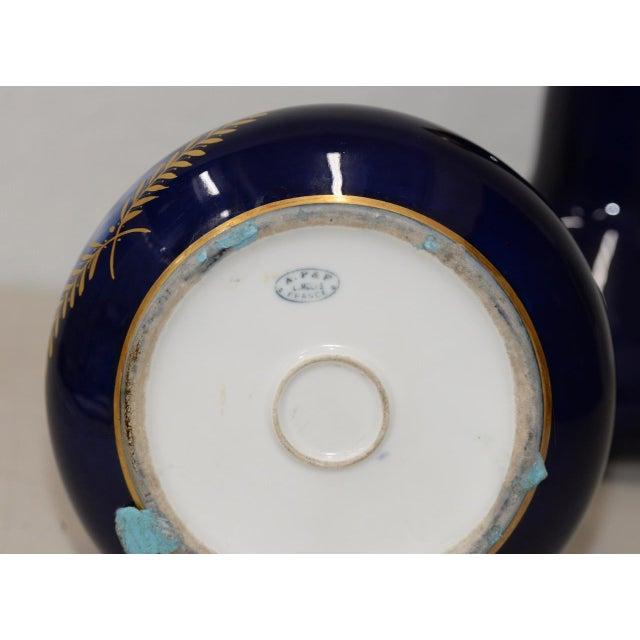 Pair of Gorgeous Cobalt Blue & Gilded a p  & F  Limoges, France Vases