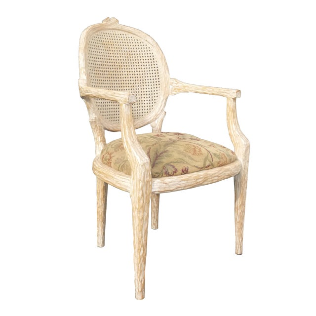 Awesome French Cane Back Carved Wood Accent Arm Chair Ncnpc Chair Design For Home Ncnpcorg