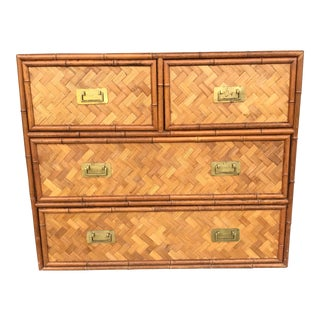 Vintage Faux Bamboo Rattan Woven Chest For Sale