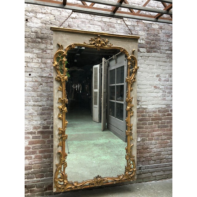 Beautiful French 18th Century Gilt Wood Trumeau Louis XV For Sale - Image 9 of 11