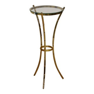 Hollywood Regency Style Glass Faux Bamboo End Table For Sale