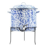Image of Crow Canyon Home Splatterware Beverage Dispenser with Stand in Blue & White Marble For Sale