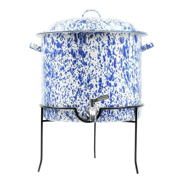 Crow Canyon Home Splatterware Beverage Dispenser with Stand in Blue & White Marble For Sale