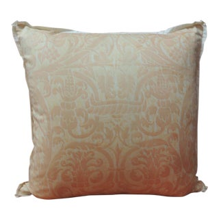 """Peach Fortuny """"Uccelli"""" Printed Vintage Decorative Pillow For Sale"""