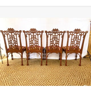 Vintage Pagoda Wooden Carved Dining Chairs - Set of 4 Preview